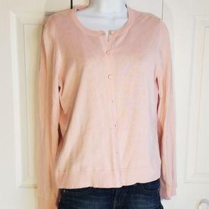 Parisian Pink Silk Blend Covered Button Cardigan